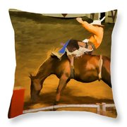 Bronc Bucking Out The Gate Throw Pillow