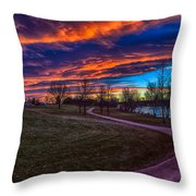 Bronco Sunset Throw Pillow