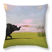 Brontotherium Grazing In Prehistoric Throw Pillow by Kostyantyn Ivanyshen