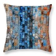 Bronze Blue Wall Throw Pillow