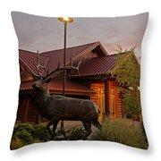 Bronze Elk At Taprock Throw Pillow