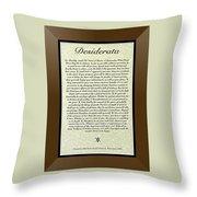 Bronze Frame Original Desiderata Poster Throw Pillow