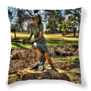 Bronze Girl At Woodward Park Throw Pillow