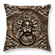 Bronze Lion Head And Ring On The Main Door Of The Town Hall In Dubrovnik Sepia Throw Pillow