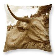 Bronze Longhorn Throw Pillow