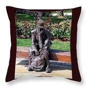 Bronze Mailman Resting Throw Pillow
