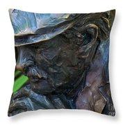 Bronze Man Sitting Throw Pillow