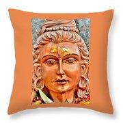 Bronze Shiva Statue - Uttarkashi India Throw Pillow