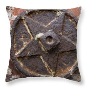 Bronze Star Attached To Brick Throw Pillow