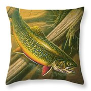 Brook Trout  Hideaway Throw Pillow
