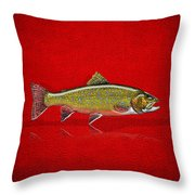 Brook Trout On Red Leather Throw Pillow