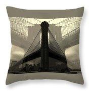 Brooklyn Bridge Abstract Throw Pillow