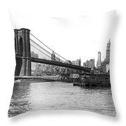 Brooklyn Bridge And Ny Skyline Throw Pillow