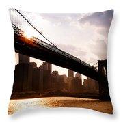 Brooklyn Bridge And Skyline Manhattan New York City Throw Pillow