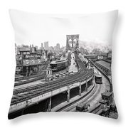Brooklyn Bridge And Terminal - 1903 Throw Pillow