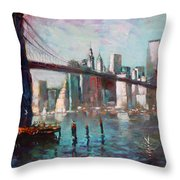 Brooklyn Bridge And Twin Towers Throw Pillow