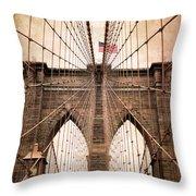 Brooklyn Bridge Approach Throw Pillow