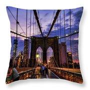 Brooklyn Bridge Evening Throw Pillow