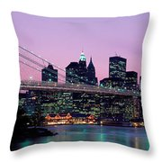 Brooklyn Bridge New York Ny Usa Throw Pillow