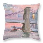 Brooklyn Bridge Sunset 2013 Throw Pillow