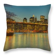Brooklyn Bridge Twilight Throw Pillow