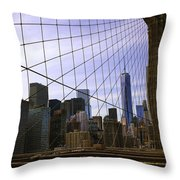 Brooklyn Bridge View Throw Pillow