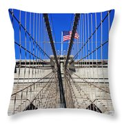 Brooklyn Bridge With American Flag Throw Pillow
