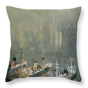 Brooklyn Harbor Circa 1921  Throw Pillow by Aged Pixel