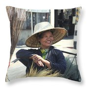 Broom Seller  Throw Pillow
