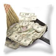 Broom Sweeping Up American Currency Throw Pillow