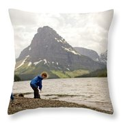 Brother And Sister Playing Near A Lake Throw Pillow