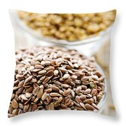 Brown And Golden Flax Seed Throw Pillow