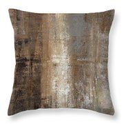 Slender - Grey And Brown Abstract Art Painting Throw Pillow