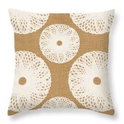 Brown And White Floral Throw Pillow by Linda Woods