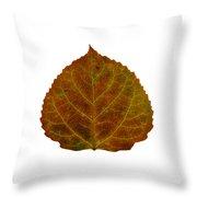 Brown Aspen Leaf 2 Throw Pillow