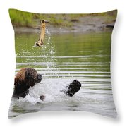Brown Bear Playing With A Bone Throw Pillow