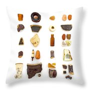 Brown China And Amber Sea Glass Throw Pillow by Jennifer Booher