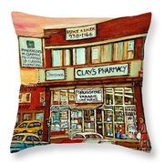 Brown Derby Van Horne Shopping Center Clay's Pharmacy Montreal Paintings City Scenes Carole Spandau Throw Pillow
