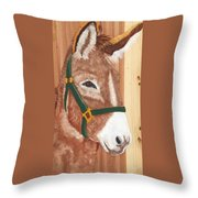 Brown Donkey On Cedar Throw Pillow