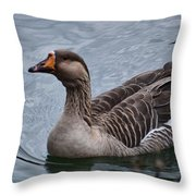 Brown Feathered Goose Throw Pillow