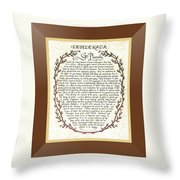 Brown Frame Color Wreath Desiderata Poem Throw Pillow
