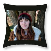 Brown Haired And Freckle Faced Natural Beauty Model  Xvii  Throw Pillow
