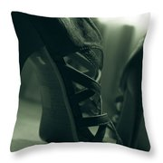 Brown Leather High Heel Shoes Throw Pillow