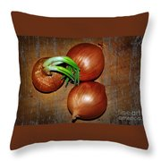 Brown Onions Throw Pillow