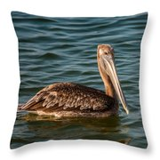 Brown Pelican Throw Pillow