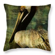 Brown Pelican Beauty Throw Pillow