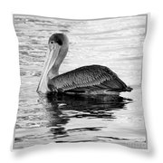Brown Pelican - Black And White Throw Pillow