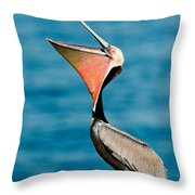 Brown Pelican Showing Pouch Throw Pillow