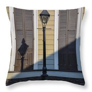 Brown Shutter Doors And Street Lamp - New Orleans Throw Pillow