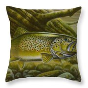 Brown Trout Log Throw Pillow by Jon Q Wright